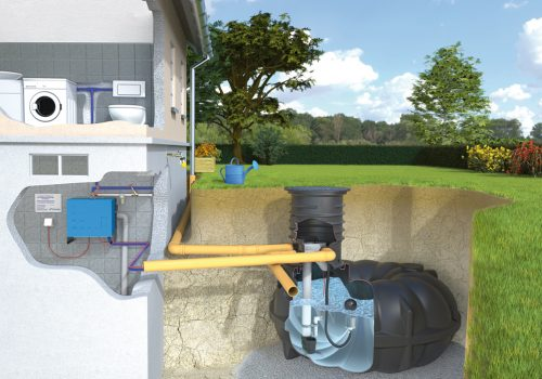 Die Regenwasseranlagen für das Haus.